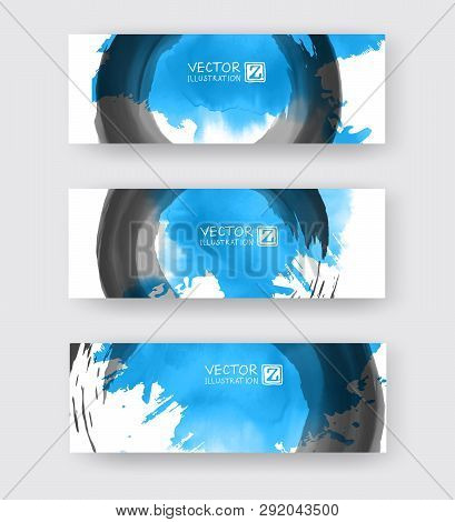 Banners With Abstract Color Ink Element Wash Painting Element In East Asian Style. Traditional Japan