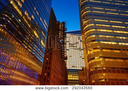Illumination And Night Lights Of New York City. Night Life Of The City That Never Sleeps. Travelling