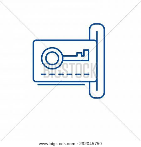 Electronic Dook Key Lock Line Icon Concept. Electronic Dook Key Lock Flat  Vector Symbol, Sign, Outl