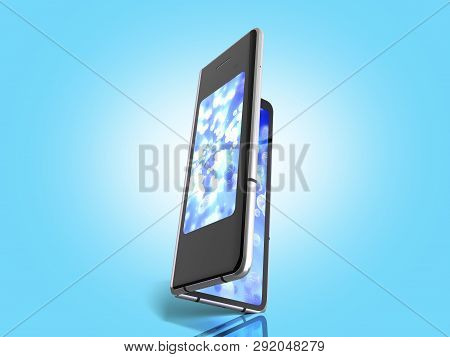 First Serial Foldable Phone 3d Render On Blue Background