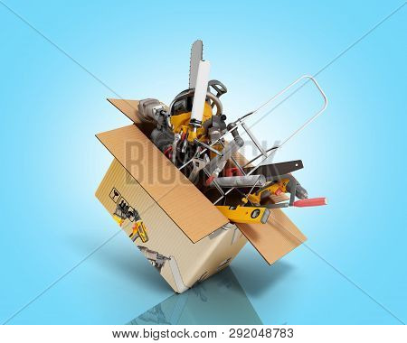 Concept Of Product Categories Construction Tool Fly Out Of The Box 3d Render On Blue