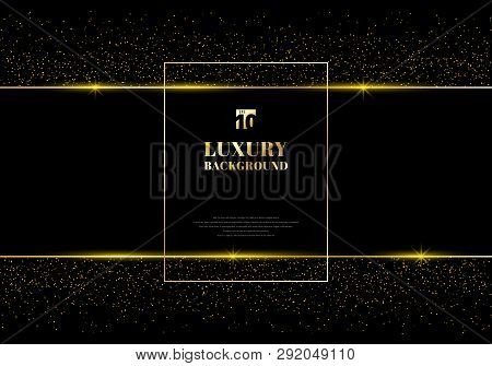 Abstract Golden Glitter And Shiny Gold Frame On Black Background. Luxury Elegant Trendy Style. You C