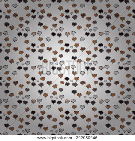 Vector. Seamless Pattern With Small Hearts On Gray, White And Brown Backdrop. Abstract Texture, Repe