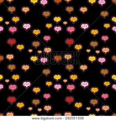 Seamless Pattern Watercolor Hearts Seamless Background. Colorful Watercolor Romantic Texture. Vector