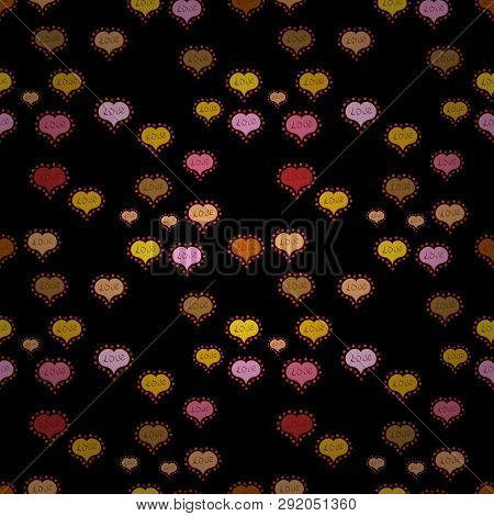Red, Yellow And Black Textured Smears Heart Shapes Vector Objects Isolated With Red, Yellow And Blac