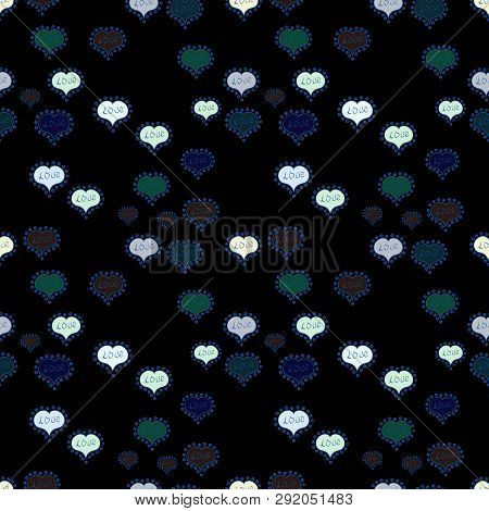 Swirls In Black, Neutral And Blue Colors. Symbol Valentines Day. Vector Heart. Border Wedding. Seaml