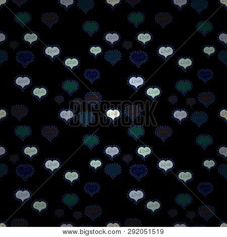 Vector Illustration. Seamless Pattern With Realistic Beautiful Black, Neutral And Blue Heart. Happy