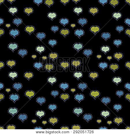 Vector Illustration. Cute Hearts Love On Blue, Black And Yellow Colors On Nice Background. Valentine