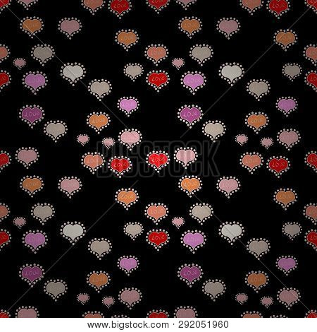 Seamless Sixties Style Mod Pop Art Psychedelic Colorful Love Text Design. Cute Hearts Love On Neutra