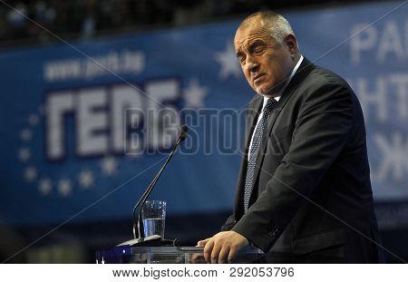 Sofia, Bulgaria - October 9: Bulgarian Prime Minister And Head Of Political Party Gerb Boyko Borisov