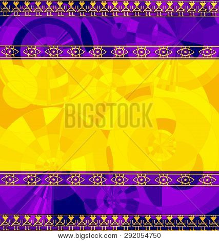 Yellow Purple Colored Image Of Frame With Abstract Figures