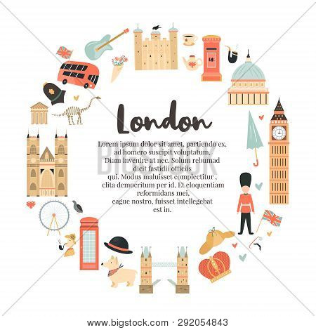 London Circle Abstract Background, Design With Big Ben, Tower, Westminster Abbey Etc. And Place For