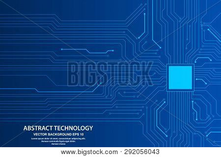 Abstract Futuristic Circuit Board Illustration, High Computer Technology Dark Blue Color Background.
