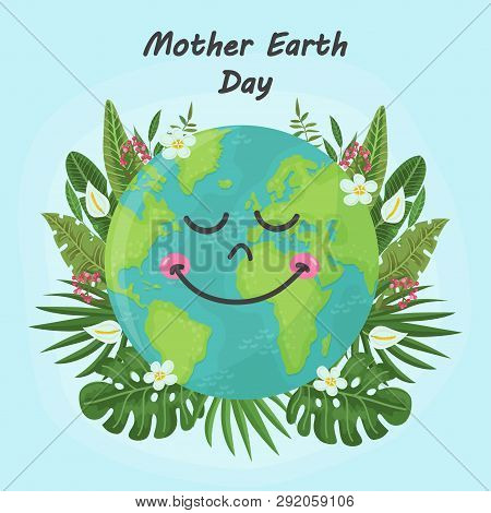 Cute Background For Mother Earth Day. Vector Illustration For Your Design