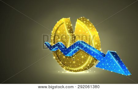 Broken Golden Coin Symbol With Downtrend Arrow. Colorful 3d Illustration. Polygonal Vector Business,