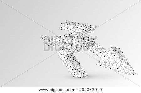 Downtrend Arrow, Rupee Currency, Digital Origami 3d Illustration. Polygonal Vector Business Crisis,