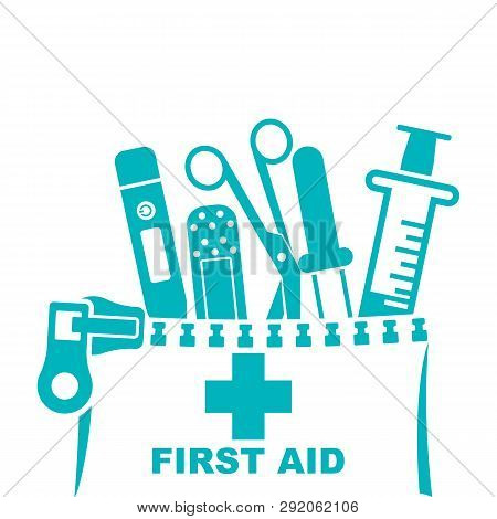 First Aid Kit Black Icon, Silhouette. Medical Equipment And Medications. Healthcare Concept. Vector