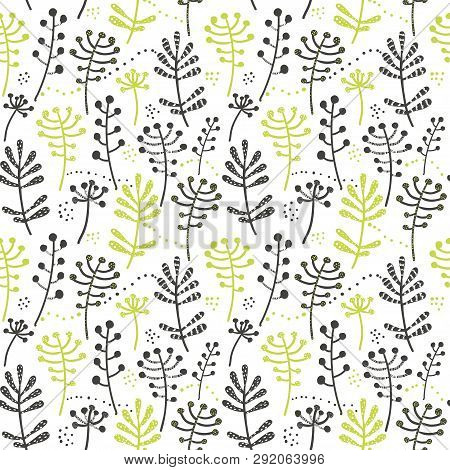 Seamless Pattern With Green Leaves And Herbs