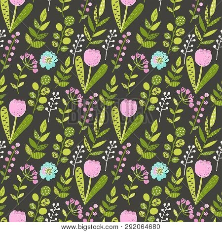 Seamless Pattern With Colorful Flowers And Leaves