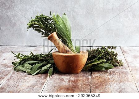 Homegrown And Aromatic Herbs On Rustic Background With Rosemary And Basil
