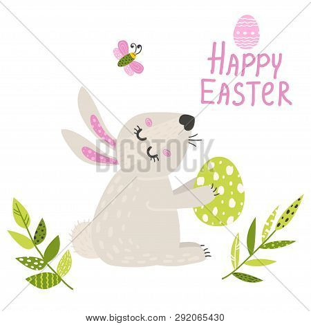 Easter Card With A Bunny. Vector Illustration For Your Design