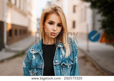 Portrait Of A Pretty Attractive Sexy Young Woman With Natural Make-up With Beautiful Eyes In A Fashi