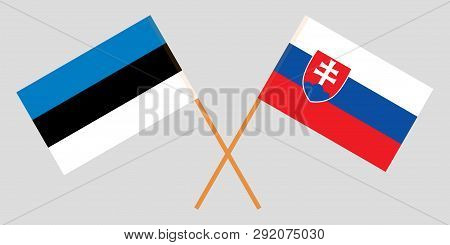 Slovakia And Estonia. The Slovakian And Estonian Flags. Official Colors. Correct Proportion. Vector