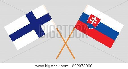 Slovakia And Finland. The Slovakian And Finnish Flags. Official Colors. Correct Proportion. Vector I