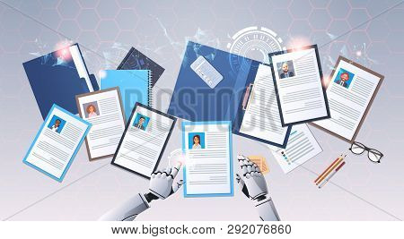 Robot Hands Choosing Cv Profile Businesspeople To Hire Curriculum Vitae Candidate Job Position Top A