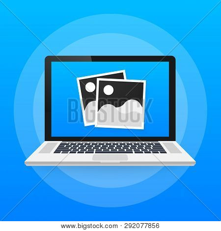 Photo Icons, Photo Frames, Retro Photos Flat Icon, Vintage Blank Photo Frames On Laptop. Vector Stoc