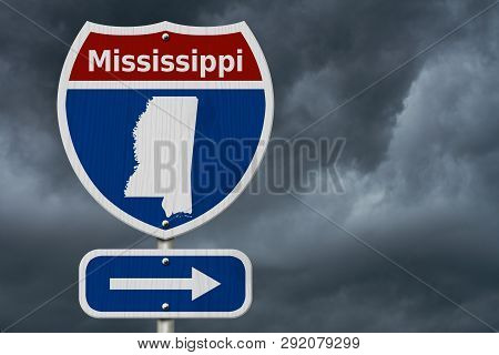 Road Trip To Mississippi, Red, White And Blue Interstate Highway Road Sign With Word Mississippi And