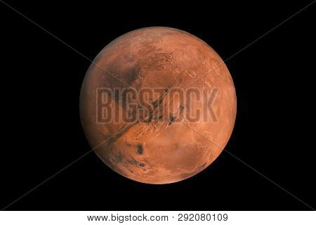 Mars On A Black Background Isolated. Red Planet Mars Element For Designers
