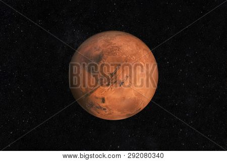 Mars Planet On A Starry Sky In Space. Travel To New Land Mars With Stars. Martian Life