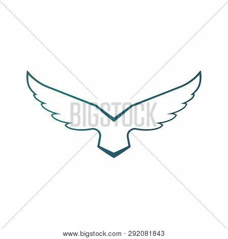 Falcon Soaring Rising Wings Logo Design Vector Template.luxury Corporate Heraldic Flying Eagle Phoen