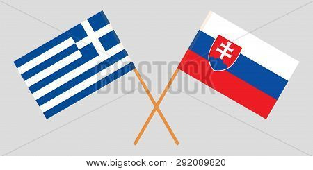 Slovakia And Greece. The Slovakian And Greek Flags. Official Colors. Correct Proportion. Vector Illu