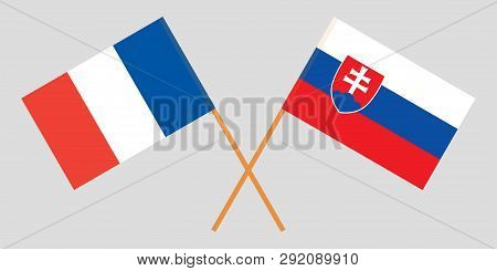 Slovakia And France. The Slovakian And  French Flags. Official Colors. Correct Proportion. Vector Il