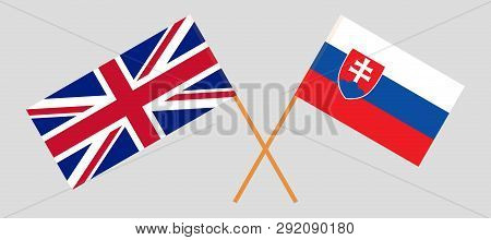 Slovakia And Uk. The Slovakian And British Flags. Official Colors. Correct Proportion. Vector Illust