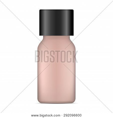 Cosmetic Foundation. Tonal Basis Cream Bottle. Face Care Beauty Product. Brown 3d Container Of Conce