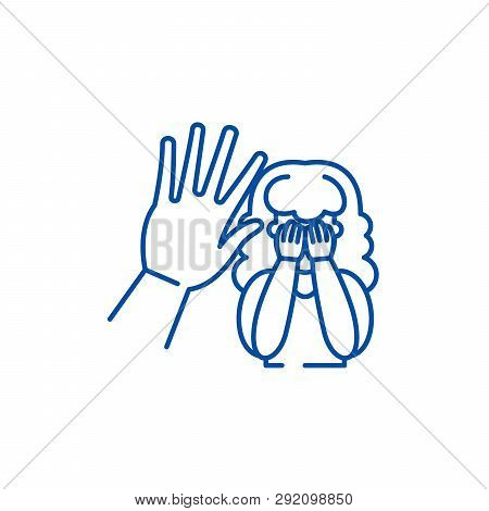 Physical Aggression Line Icon Concept. Physical Aggression Flat  Vector Symbol, Sign, Outline Illust