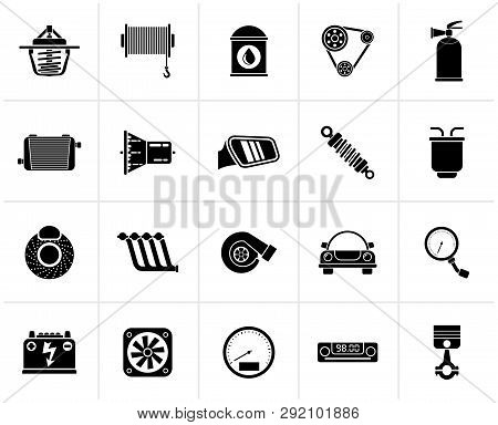 Black Car Part And Services Icons 2 - Vector Icon Set