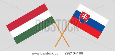 Slovakia And Hungary. The Slovakian And Hungarian Flags. Official Colors. Correct Proportion. Vector