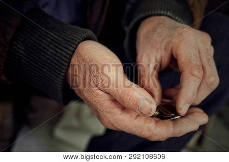 Old Hands Count Pennies. The Concept Of Poverty, Wage Arrears.concept Sanction Poverty In Russia.