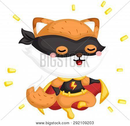 A Vector Of A Cute Fox Wearing Superhero Costume
