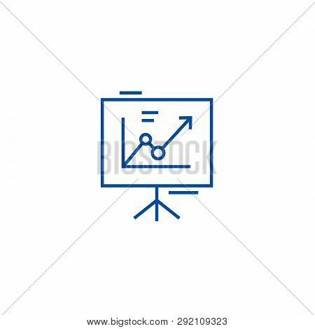 Presentation Board, Flip Chart Line Icon Concept. Presentation Board, Flip Chart Flat  Vector Symbol