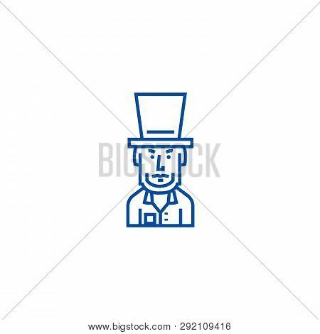 President Usa, Abraham Lincoln Line Icon Concept. President Usa, Abraham Lincoln Flat  Vector Symbol
