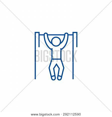 Pull Up, Workout, Street Exercise Line Icon Concept. Pull Up, Workout, Street Exercise Flat  Vector