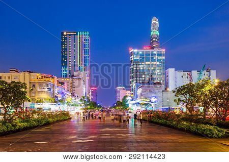 Ho Chi Minh, Vietnam - March 08, 2018: Ho Chi Minh City Skyline Night View. Ho Chi Minh Is The Large