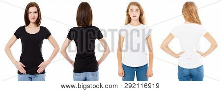 T-shirt Set. Front And Back View Brunette And Blonde In White And Black T Shirt Isolated. Two Girl I