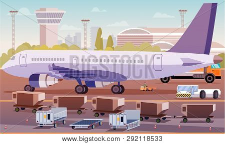 Cargo Transportation By Plane Flat Illustration. Loading Luggage Compartment Aircraft. Foreground Sp