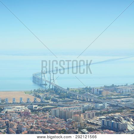 The Vasco Da Gama Bridge Is The Longest Bridge In Europe. Lisbon, The Capital Of Portugal